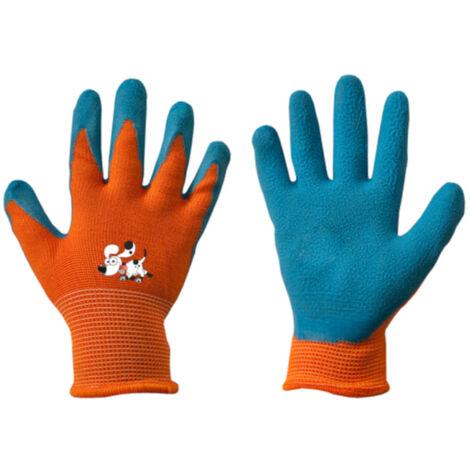 """main image of """"Kinder Arbeitshandschuhe mit Latexbeschichtung orange/blau 3"""""""