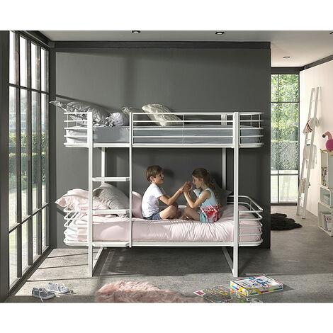 Kinder- Etagenbett Metall OSAKA-12 weiß - B/H/T: 205/166/99cm