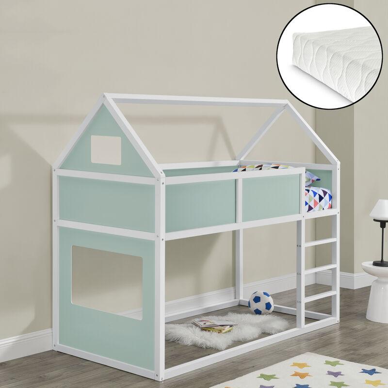 Kinder Hochbett mit Leiter und Matratze 90x200cm Etagenbett mit Kaltschaum-Matratze Hausbett aus Holz in weiß/mintgrün - [EN.CASA]