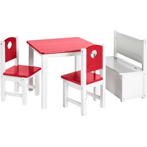Kinder-Sitzgruppe – Kinderzimmer Set: 1 Tisch, 2 Stühle und Truhenbank:Rot