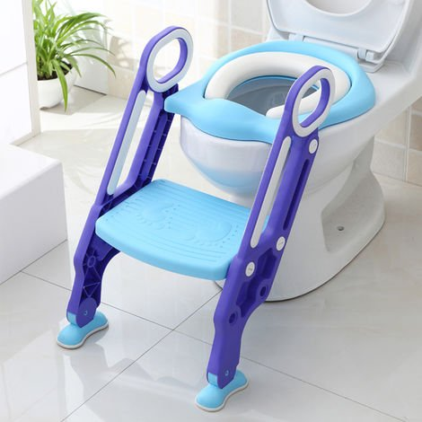 Kinder Toilettensitz Töpfchentrainer Kinder-Töpfchen Toilettensitz mit Leiter und Griffe Töpfchen Sitz für Toiletten (Blau + Lila)