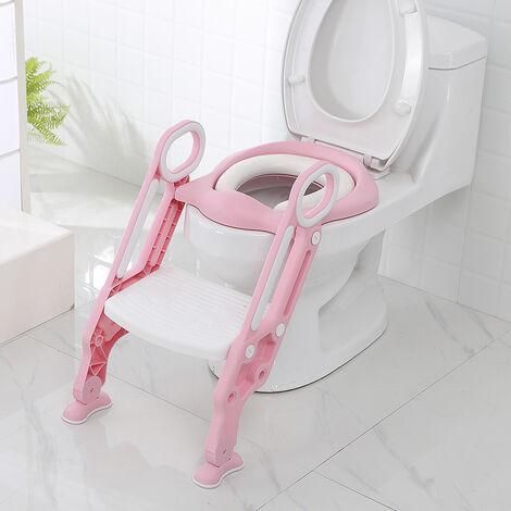 Kinder Toilettensitz Töpfchentrainer Kinder-Töpfchen Toilettensitz mit Leiter und Griffe Töpfchen Sitz für Toiletten (Rosa)