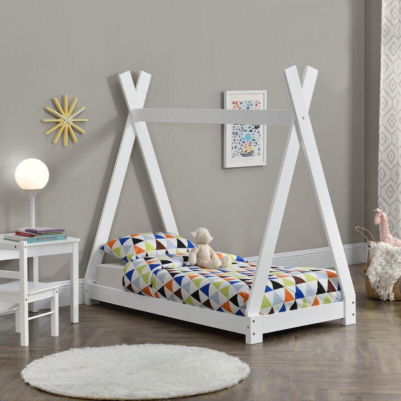 Kinderbett 70x140cm Tipi Indianer Bett Holz Weiß Hausbett Kinder Haus - [EN.CASA]