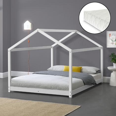 Kinderbett Cerro 120x200 cm mit Kaltschaummatratze Weiß