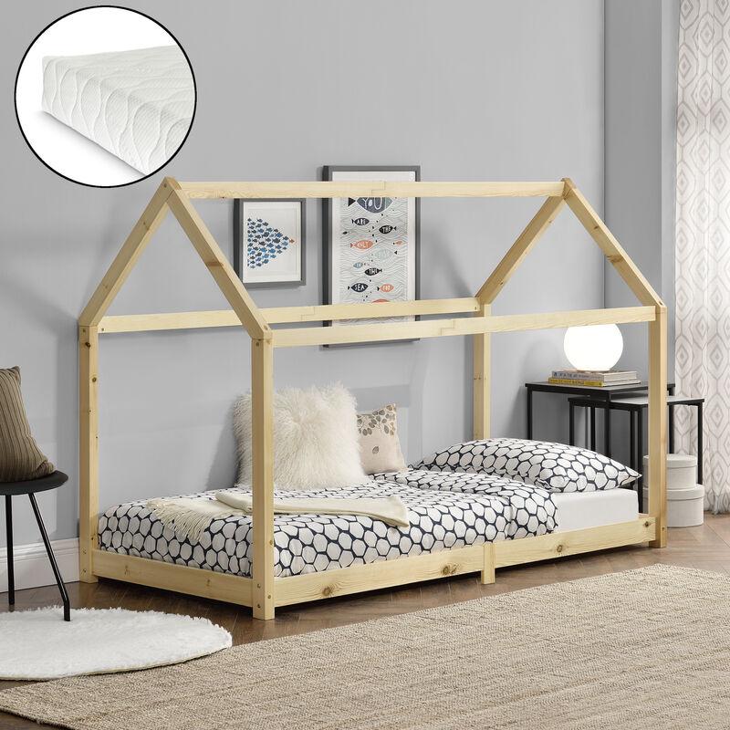 Kinderbett Embrach mit Kaltschaummatratze 90x200cm Hausbett Bettenhaus Kiefernholz Natur - [EN.CASA]