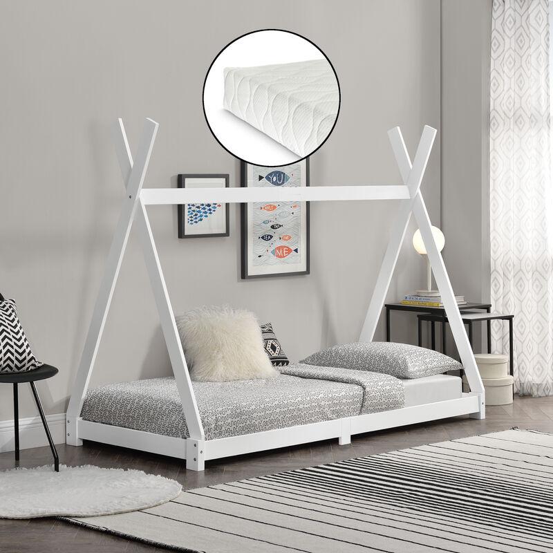Kinderbett Höri mit Kaltschaummatratze 90x200cm Tipi Indianer Bett Hausbett Kiefernholz Weiß - [EN.CASA]