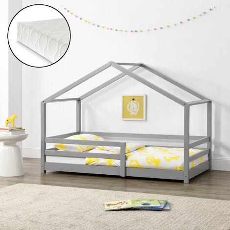 Kinderbett Knätten 90x200 cm mit Rausfallschutz + Lattenrost + Kaltschaummatratze Hellgrau