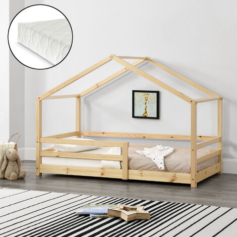 Kinderbett Knätten 90x200 cm mit Rausfallschutz + Lattenrost + Kaltschaummatratze Natur