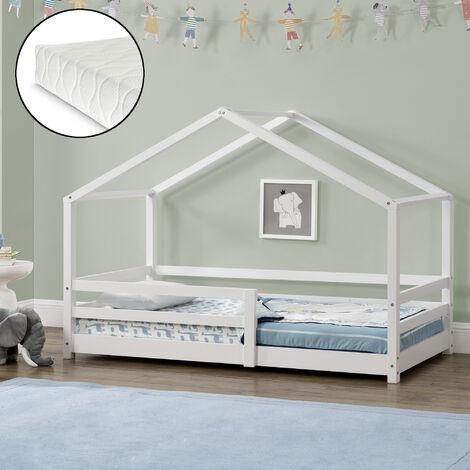 Kinderbett Knätten 90x200 cm mit Rausfallschutz + Lattenrost + Kaltschaummatratze Weiß
