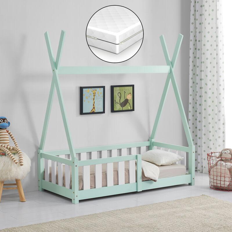 Kinderbett + Matratze 70x140cm Tipi Holz Mint Bettenhaus Hausbett Rausfallschutz - [EN.CASA]
