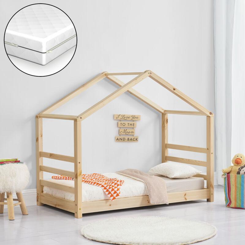 Kinderbett + Matratze mit Lattenrost und Gitter 70x140cm Hausbett Holz Bettenhaus Bett Jugendbett - [EN.CASA]