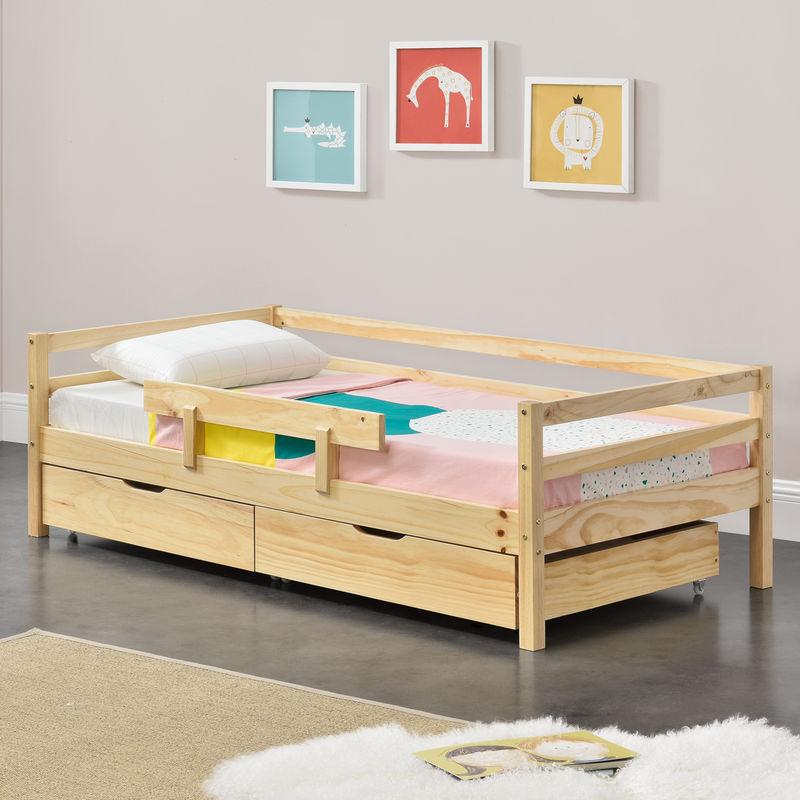 Kinderbett mit 2 Bettkasten 140x70cm Jugendbett bis 50 kg mit Stauraum Rausfallschutz Lattenrost Kiefernholz Sperrholz Natur - [EN.CASA]