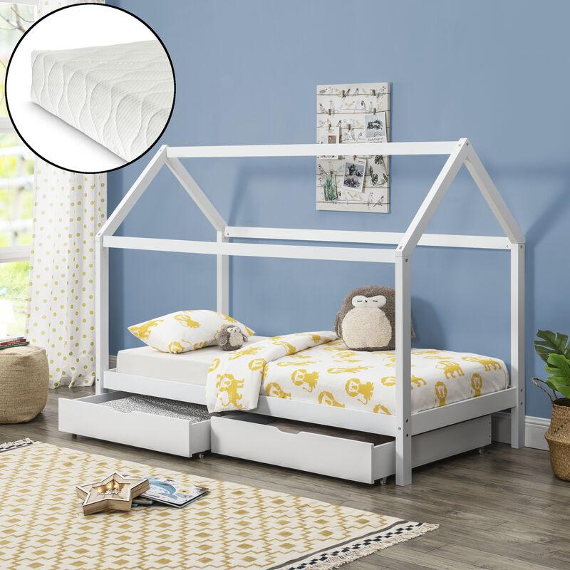 Kinderbett mit Bettkasten + Matratze 90x200cm Haus Holz Weiß Bettenhaus Hausbett - [EN.CASA]