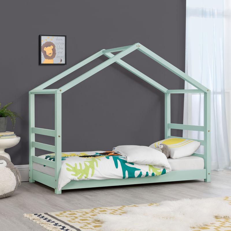 Kinderbett mit Lattenrost 70 x 140 cm Hausbett Bettenhaus Jugendbett Holz Mintgrün - [EN.CASA]