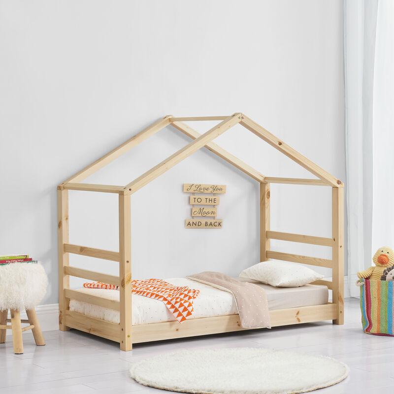 Kinderbett mit Lattenrost Hausbett Holz 70 x 140 cm Bettenhaus Bett Jugendbett - [EN.CASA]