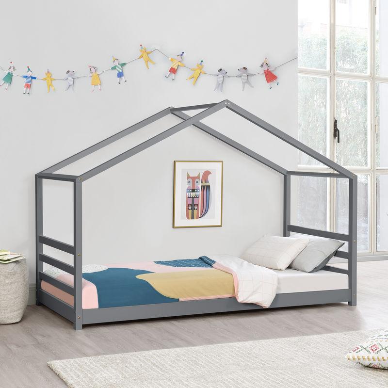 Kinderbett mit Lattenrost und Gitter 90 x 200 cm Hausbett Bettenhaus Bett Jugendbett Kiefernholz Dunkelgrau - [EN.CASA]