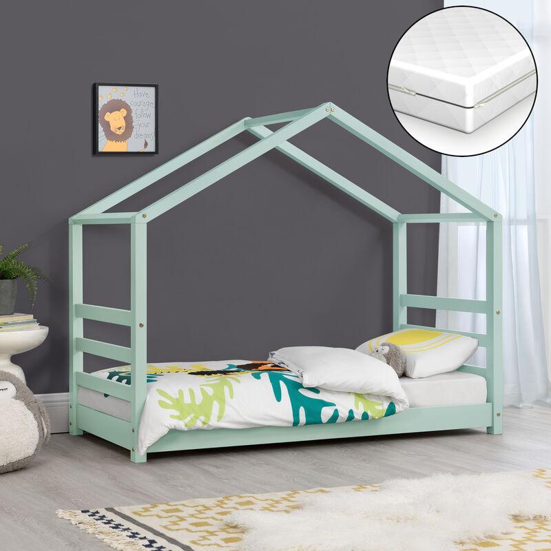 Kinderbett mit Matratze 70 x 140 cm Hausbett mit Kaltschaummatratze Bettenhaus Jugendbett Holz Mintgrün - [EN.CASA]