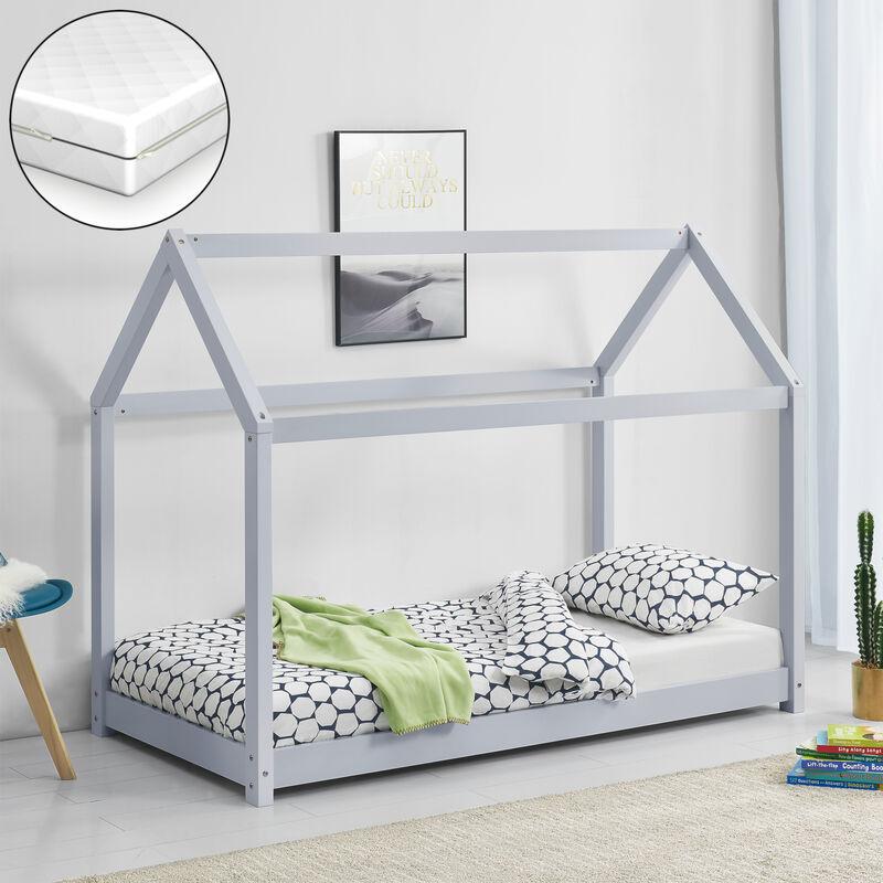 Kinderbett mit Matratze 80x160cm Holz Haus Design Kiefernholz Bett Holzbett Hausbett Kaltschaummatratze Allergikergeeignet Atmungsaktiv Hellgrau