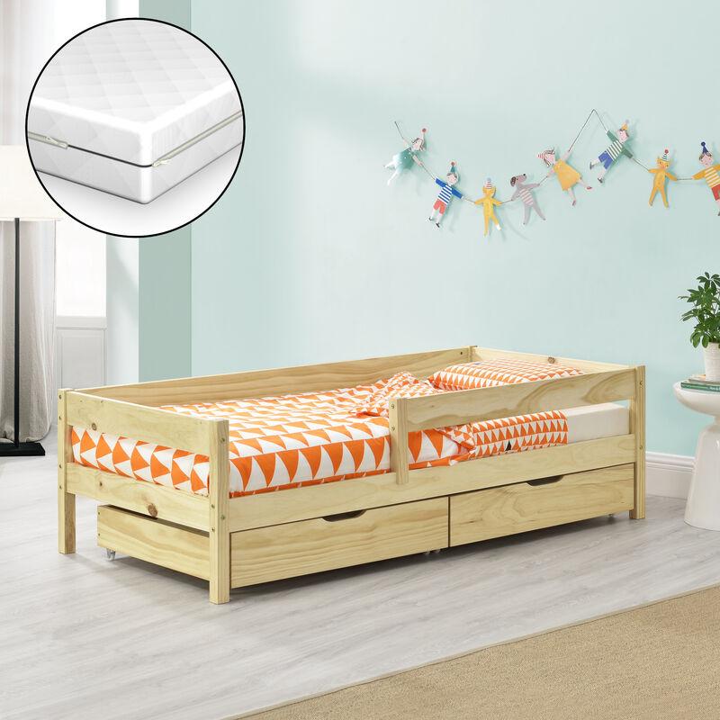 Kinderbett mit Matratze, Rausfallschutz und Schubladen 80x160 cm Jugendbett mit Schutzgitter mit Kaltschaummatratze und Bettkasten Kiefernholz Bett