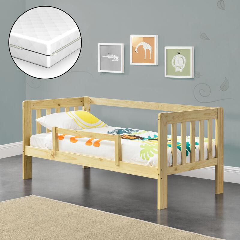 Kinderbett mit Matratze und Rausfallschutz 80x160 cm Jugendbett mit Schutzgitter Single Bett mit Lattenrost Kiefernholz Natur - [EN.CASA]