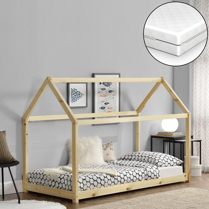 Kinderbett mit ortopädischer Matratze 70x140 cm Hausbett Holzbett Haus Design Kiefernholz Naturholz mit Kaltschaummatratze Öko-Tex Standard 100