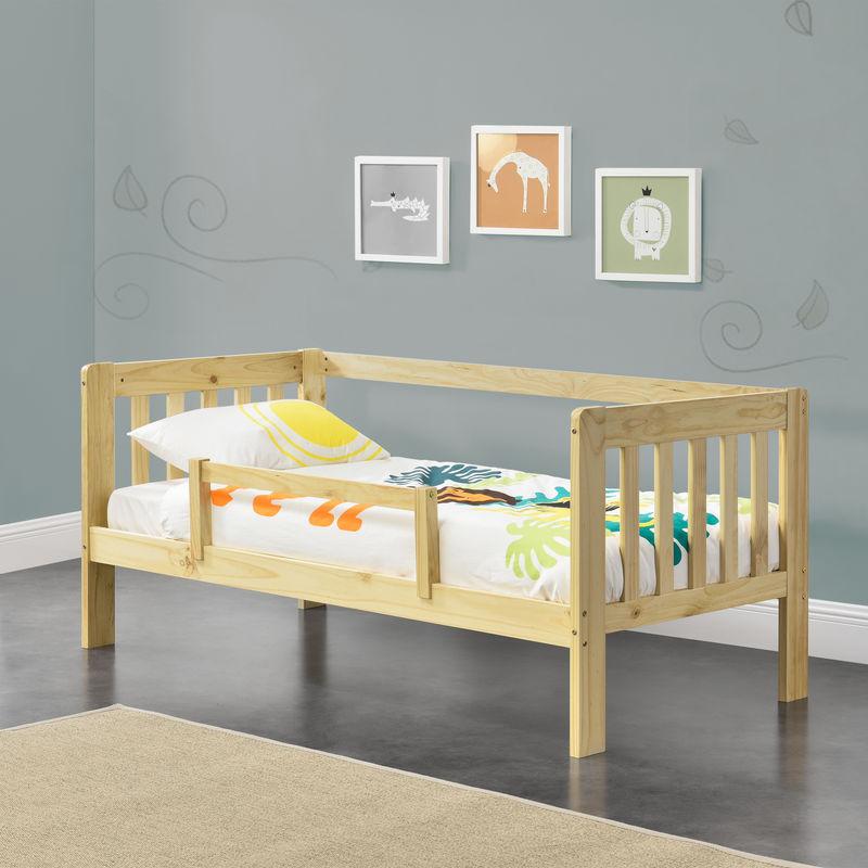 Kinderbett mit Rausfallschutz 70x140 cm Jugendbett mit Schutzgitter bis 50 kg und Lattenrost Kiefernholz Natur - [EN.CASA]