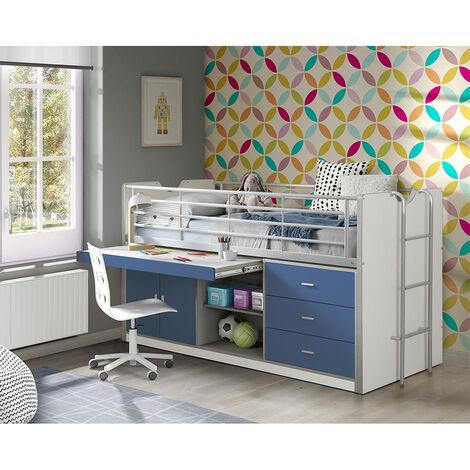 Kinderbett mit Schreibtisch BONNY-12, 90x200cm, Weiß Blau