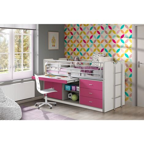 Kinderbett mit Schreibtisch BONNY-12, 90x200cm, Weiß Fuchsia