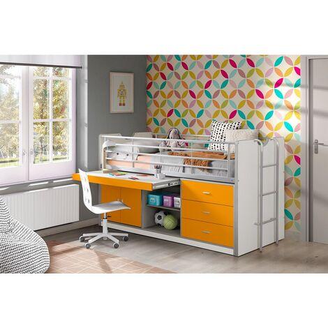 Kinderbett mit Schreibtisch BONNY-12, 90x200cm, Weiß Orange