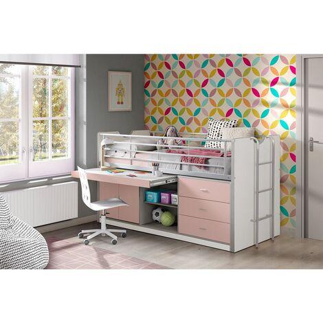 Kinderbett mit Schreibtisch BONNY-12, 90x200cm, Weiß Rosa