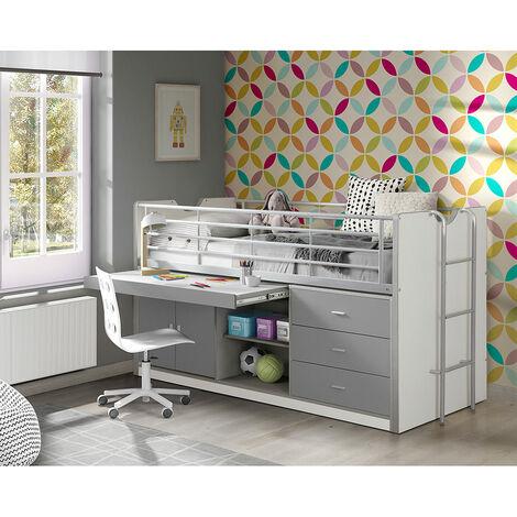 Kinderbett mit Schreibtisch BONNY-12, 90x200cm, Weiß Silbergrau
