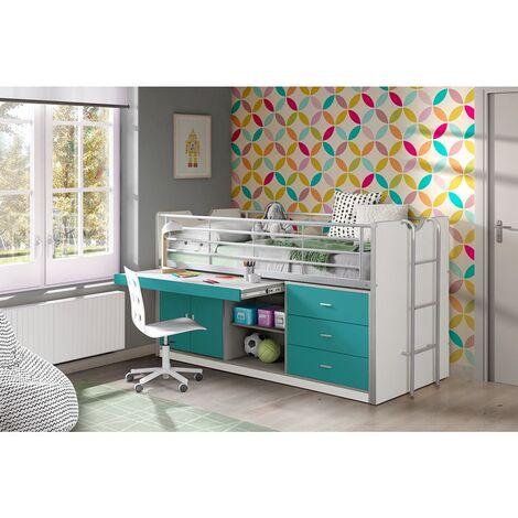 Kinderbett mit Schreibtisch BONNY-12, 90x200cm, Weiß Türkis