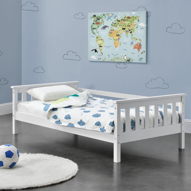 Kinderbett mit Stauraum 70x140 cm Jugendbett bis 50 kg mit Lattenrost Kojenbett Kiefernholz Weiß - [EN.CASA]