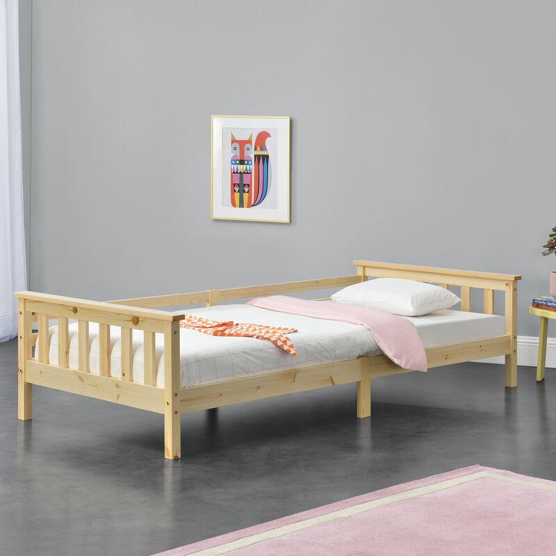 Kinderbett mit Stauraum 90x200 cm Jugendbett bis 100 kg mit Lattenrost Kojenbett Kiefernholz Natur - [EN.CASA]