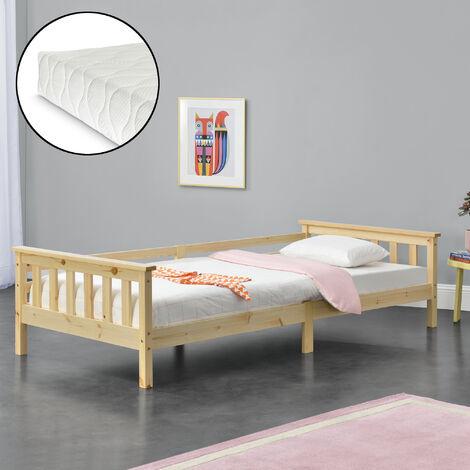 Kinderbett Nuuk 90x200 cm mit Kaltschaummatratze und Staurau Natur Holz