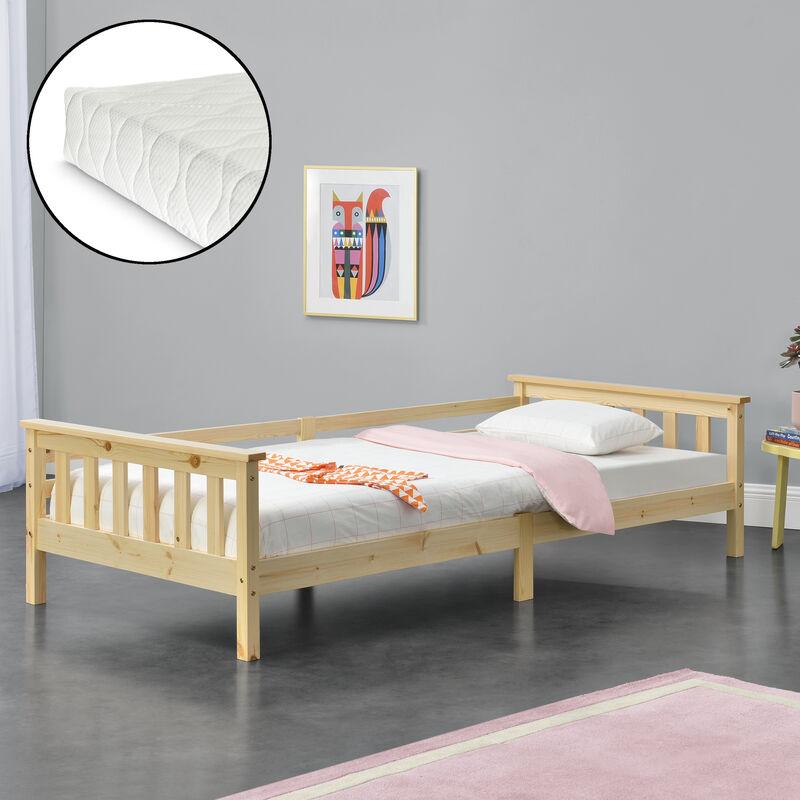 Kinderbett Nuuk mit Kaltschaummatratze 90x200 cm Jugendbett mit Stauraum und Lattenrost Kojenbett Kiefernholz Sperrholz Holzfarben - [EN.CASA]