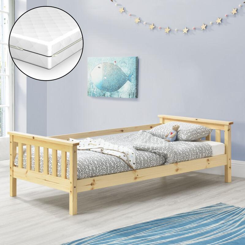 Kinderbett Nuuk mit Komfort-Matratze 80x160 cm Jugendbett mit Stauraum und Lattenrost Kojenbett Kiefernholz Sperrholz Holzfarben - [EN.CASA]