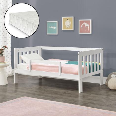Kinderbett Selfoss 90x200 cm mit Kaltschaummatratze und Schutzgitter Weiß