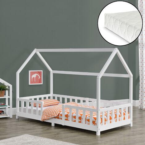 Kinderbett Sisimiut 90x200 cm mit Kaltschaummatratze Weiß