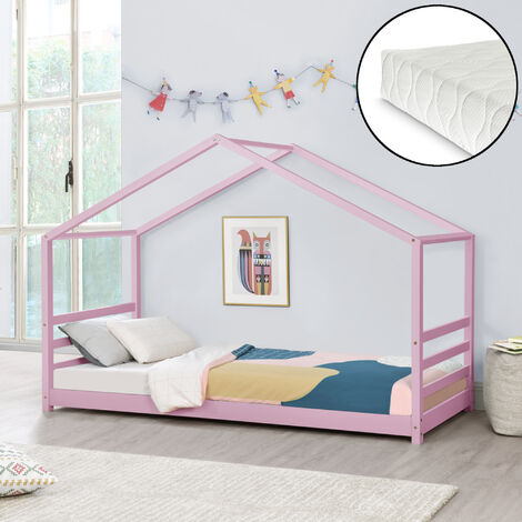 Kinderbett Vardø 90x200 cm mit Kaltschaummatratze Rosa