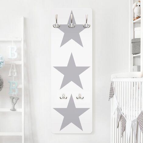 Kindergarderobe - No.YK43 Große Graue Sterne auf Weiß Größe HxB: 139cm x 46cm