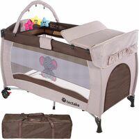 Kinderreisebett Elefant mit Wickelauflage - Babyreisebett, Reisegitterbett, Reisebettchen