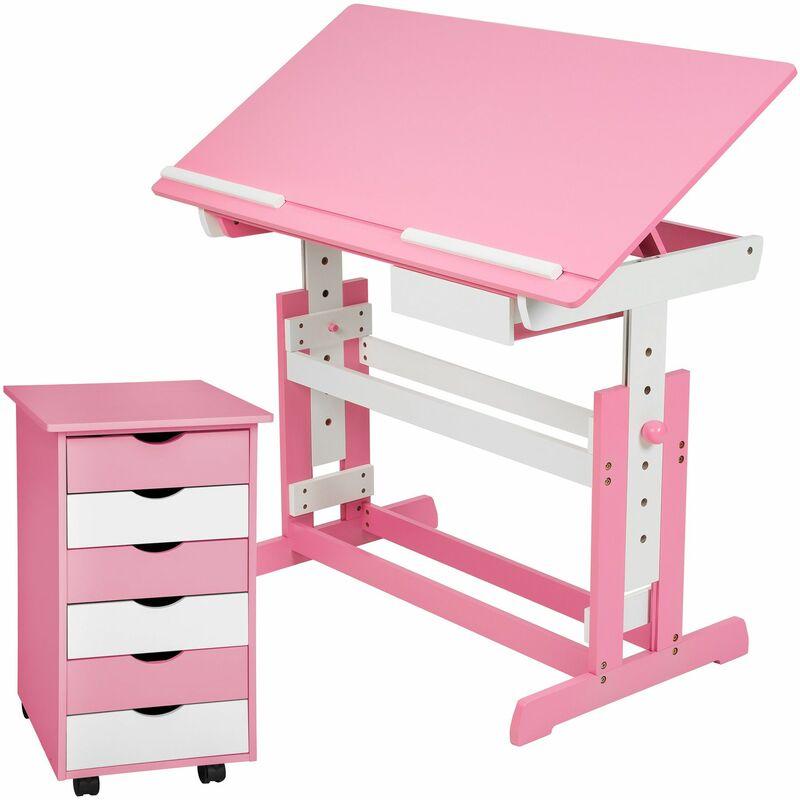 Kinderschreibtisch und Rollcontainer - Computertisch, Bürotisch - rosa - rosa fucsia - TECTAKE