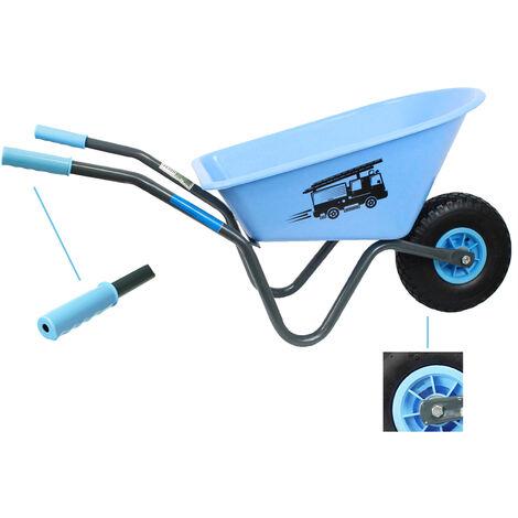 Kinderschubkarre blau Feuerwehr Schiebkarre Metallschubkarre Gartenkarre