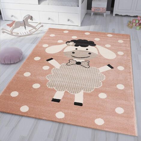 kinderteppich kinderzimmer Flauschiger Baby Teppich Happy Schaefchen Kinder Jugendzimmer Rosa
