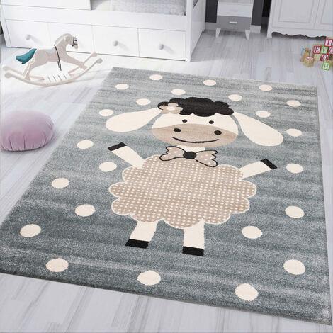 kinderteppich kinderzimmer Flauschiger Baby Teppich Happy Schaefchen Mint Blau Spielzimmer