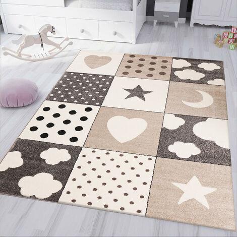 Kinderteppich kinderzimmer Teppich Babyteppich mit Herz Stern Wolke Flauschig Beige