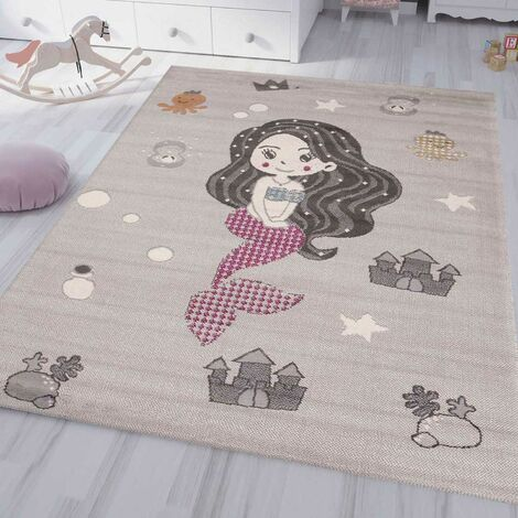 Kinderteppich Kinderzimmer Teppich Kurzflor Baby Grau