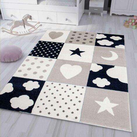 Kinderteppich Teppich Kinderzimmer Babyteppich mit Herz Stern Wolke D.BLAU