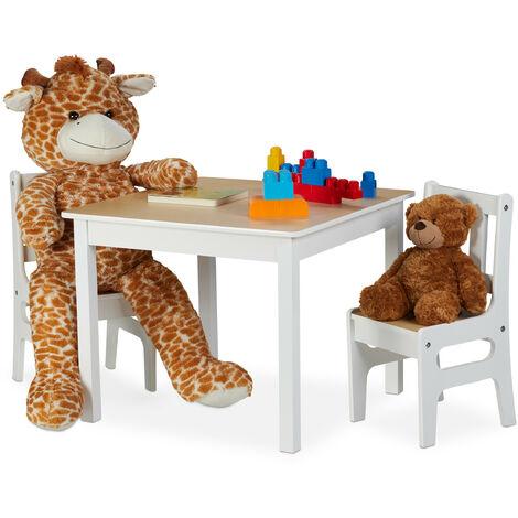 Kindertisch mit 2 Stühlen, Indoor Sitzgruppe für Kinder, 3-teiliges Set, robuste Kindermöbel, MDF, weiß/natur